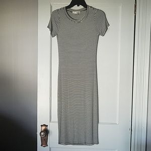 Striped mid calf length dress